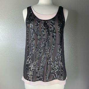MM Couture Dusty Rose & Bronze Sequined Tank Tops